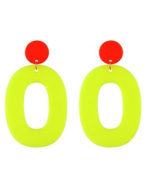 Fashion Fluorescent Yellow Resin Oval Ring Earrings