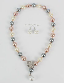 Fashion Color Mixing Ring-studded Glass Pearl Necklace