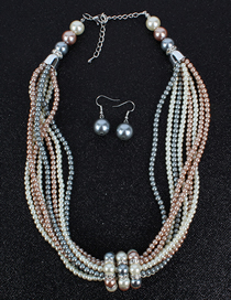 Fashion Color Mixing Glass Pearl Necklace