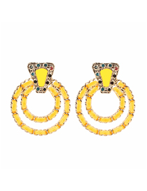 Fashion Yellow Double Layer Alloy And Velvet Crystal Earrings