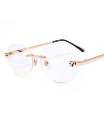 Fashion Rose Gold Frame C1 Flat Mirror Glasses