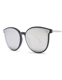 Fashion Black Frame White Mercury C2 Round Sunglasses
