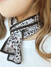 Fashion Leopard Head Black Animal Print Small Scarf