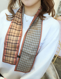 Fashion Khaki Houndstooth Strip Multi-function Small Scarf
