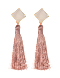 Fashion Leather Pink Alloy Resin Square Tassel Earrings