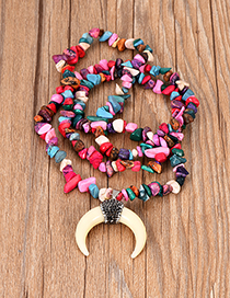 Fashion Red Diamond Colored Turquoise Resin Crescent Necklace