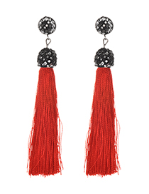 Fashion Red Alloy Studded Tassel Earrings