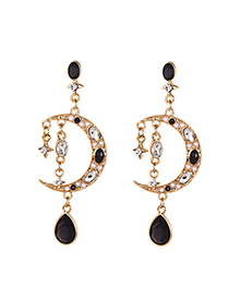 Fashion Black Alloy Diamond Moon Stud Earrings