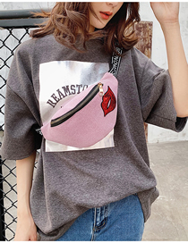 Fashion Pink Lip Shoulder One Shoulder Chest Bag