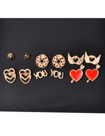 Fashion Gold Alloy Love Crescent Earrings 6 Pairs