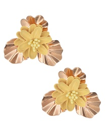 Fashion Gold Alloy Fabric Flower Earrings