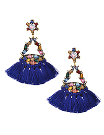 Fashion Royal Blue Alloy Diamond Geometry Tassel Earrings