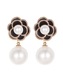 Fashion Black Alloy Pearl Flower Earrings
