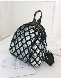 Fashion Silver Sequined Square Backpack Trumpet