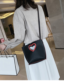 Fashion Black Peach Heart Billiard Shoulder Slung Bucket Bag