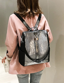 Fashion Silver Sequined Mesh Backpack