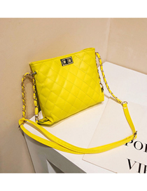 Fashion Yellow Buckle Decorated Pure Color Shoulder Bag