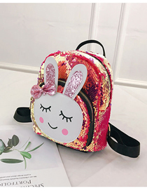 Fashion Rose Red Rabbit Rabbit Sequin Backpack