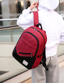 Fashion Red Wine Three-piece Backpack