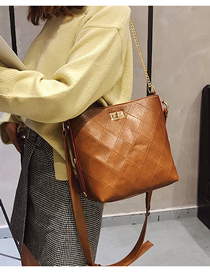 Fashion Brown One-shoulder Crossbody Chain Bucket Bag