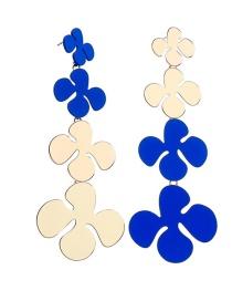 Fashion Long Section Electroplated Asymmetric Petal Earrings