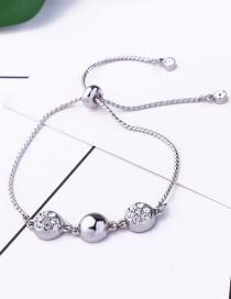 Fashion Silver Alloy Plated Semi-circular Diamond Bracelet
