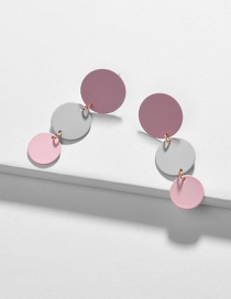 Fashion Pink Geometric Disc Painting Contrast Color Earrings