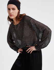Fashion Black Sequined Sweater