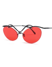 Fashion Black Box Red Cat Eye Hollow Frame Sunglasses