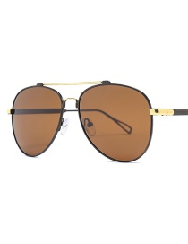 Fashion Golden Frame Full Tea Polarized Sunglasses