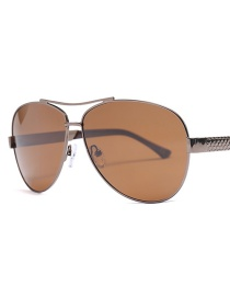 Fashion Double Tea Metal Polarized Sunglasses
