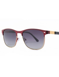 Fashion Red Frame Double Gray Polarized Sunglasses