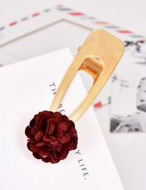 Fashion Red Wine Alloy Fabric Flower Hair Clip