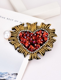 Fashion Red Alloy Diamond Beads Beads Sequins Love Pearl Hairpin