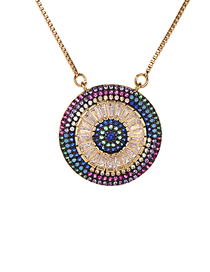 Fashion Color Copper Inlaid Zirconium Round Color Necklace