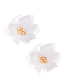 Fashion White Mesh Flower Earrings