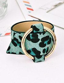Fashion Leopard Green Alloy Pu Animal Print Bracelet