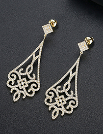 Fashion Gold Copper Inlaid Zirconium Earrings
