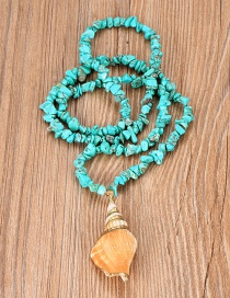 Fashion Lake Green Turquoise Beaded Conch Necklace