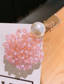 Fashion Pink Crystal Beaded Bangs Hair Hair Clip