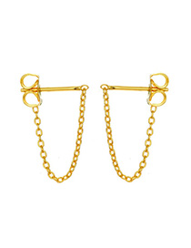 Fashion Gold 925 Silver Chain Tassel Earrings