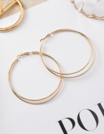 Fashion Gold Double Circle Stud Earrings