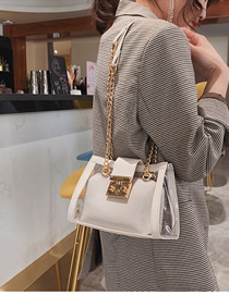 Fashion White Lock Button Transparent Jelly Chain Shoulder Bag