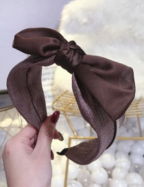 Fashion Brown Hot Stamped Diamond Bow Wide-brimmed Headband