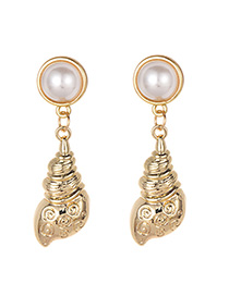 Fashion Gold Pearl Conch Earrings
