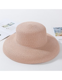 Fashion Pink Light Plate Curved Straw Hat