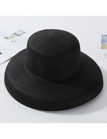 Fashion Black Light Plate Curved Straw Hat