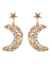 Fashion Gold Diamond Star Moon Stud Earrings
