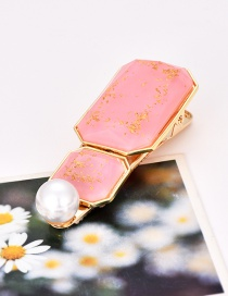 Fashion Pink Alloy Square Pearl Hairpin