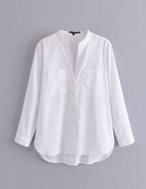 Fashion White Pocket Linen Shirt